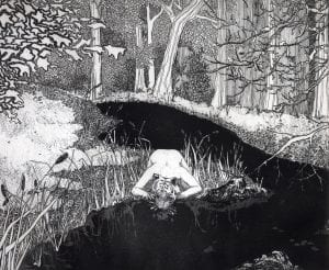 Black Lie: Black and white etching of a tiger woman crouching at the edge of a black river, drinking