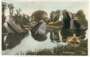 Anxious Chronicles: A woman in a small wooden boat looks back at us as she rows across a lake, huge meteorite boulders sticking out of the water