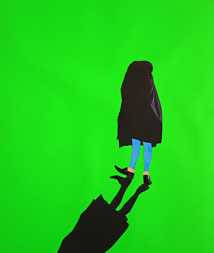Mantle: neon green background with a figure standing, a black cloth thrown over their head and body, with sky blue hose and black shoes. A strong black shadow extends from the feet out to the bottom edge of the image
