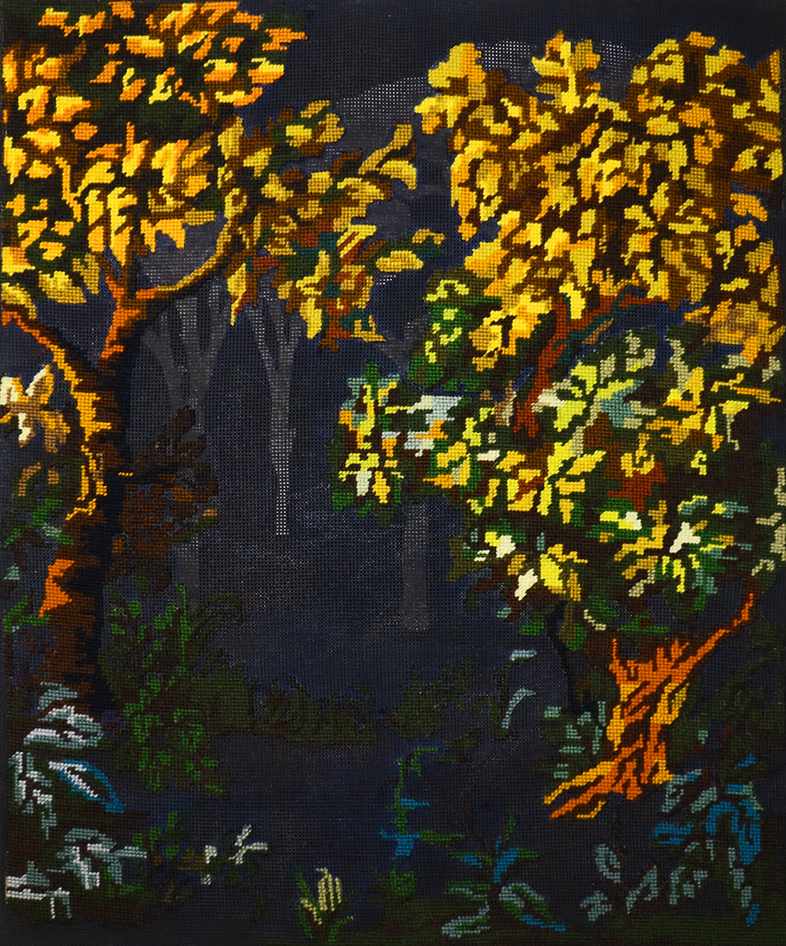 Silk: an embroidered image of bright autumn trees in yellow and orange sits against a black linen background, with tree silhouettes behind