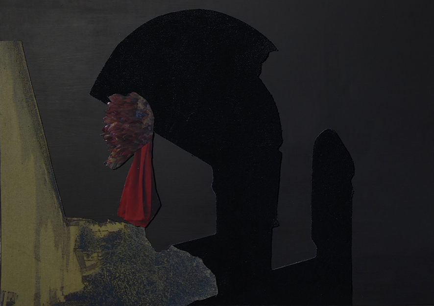 Cleave: a black smooth board sits behind a blacker abstract shape with a red cloaked figure standing on a rock
