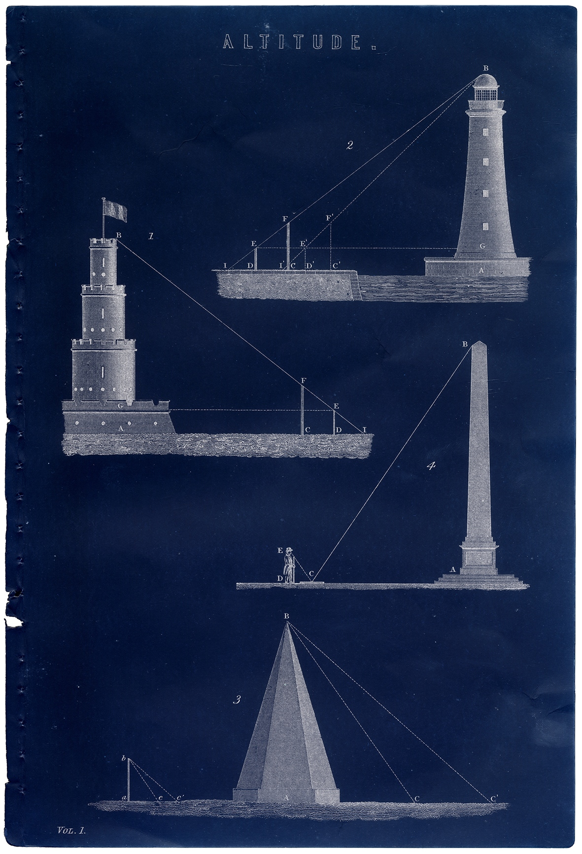Blueprints: cobalt blue book plate with four white line illustrations of lighthouses