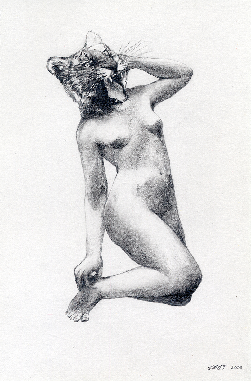 drawing of a nude woman with a tiger head, growling at the sky