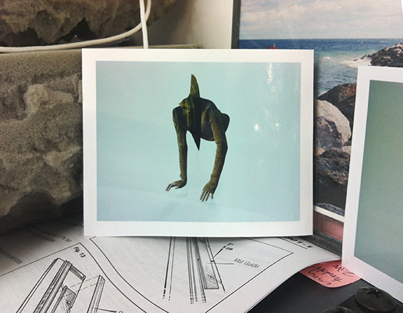 The Quarries: Drag, Fold and Mantle: photograph of a polaroid photograph of a strange-lokoing creature with a dinosaur head and female arms as legs stood against an image of rocks and sea, on top of an instruction manual with black line drawings.