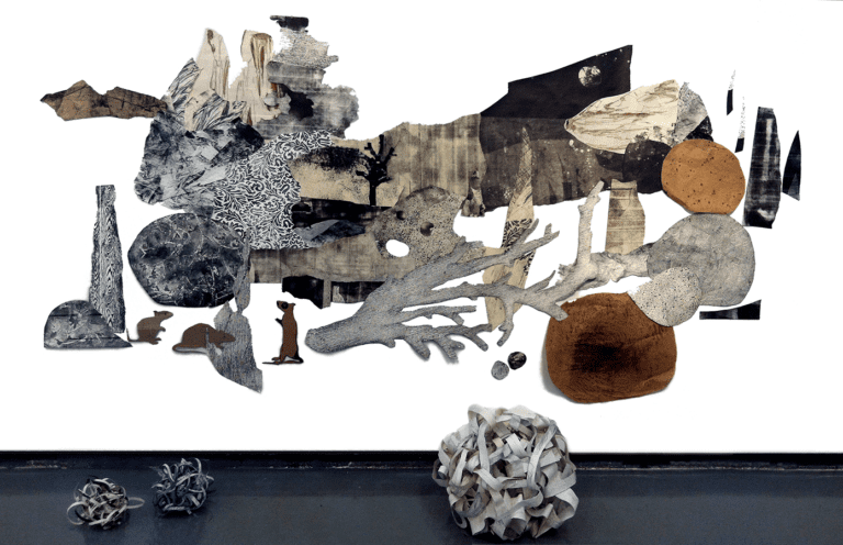 Earthquake: collage of paper rocks, trees and sky