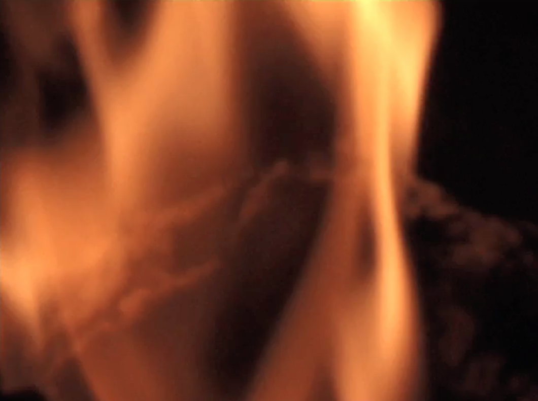 The Burning: Flickering flames of a wood log fire