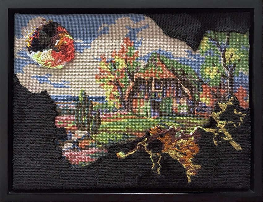 A thatched cottage is about to be hit by a meteor, a jagged darkness encroaching